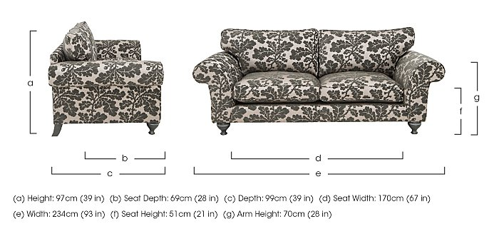 Wellington 4 Seater Split Frame Fabric Sofa in  on FV
