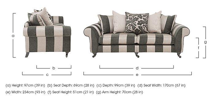 Wellington 4 Seater Split Frame Pillow Back Fabric Sofa in  on FV