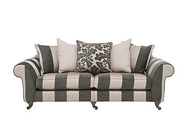 Wellington 4 Seater Split Frame Pillow Back Fabric Sofa in Altan Stripe Steel - Sm/Nc on Furniture Village