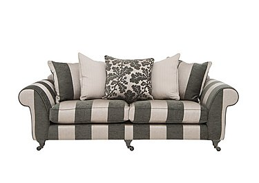 Wellington 4 Seater Pillow Back Fabric Sofa in Altan Stripe Steel - Sm/Nc on Furniture Village