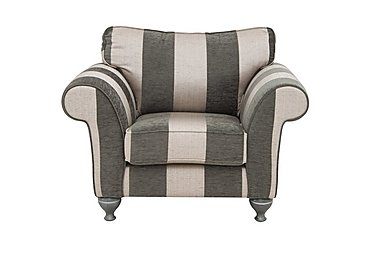 Wellington Fabric Armchair in Altan Stripe Steel - Smoke on Furniture Village