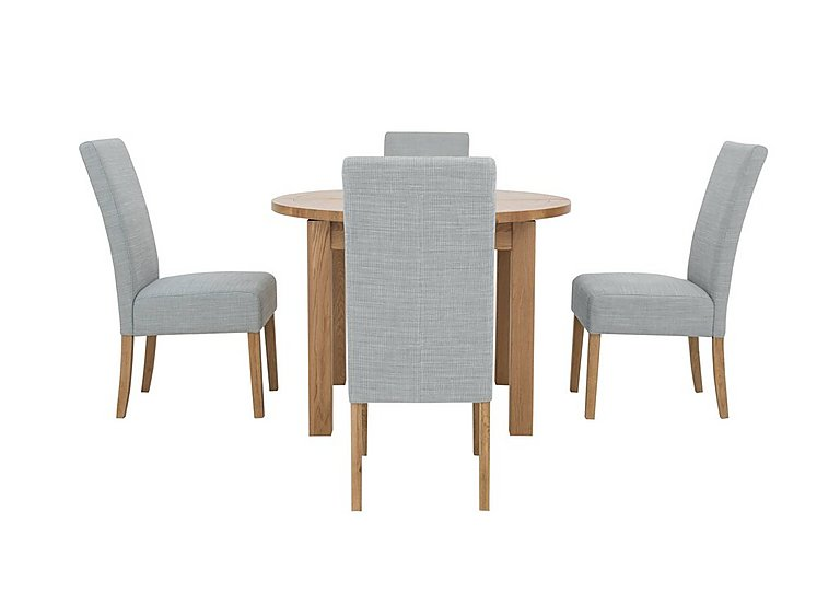 California Extending Round Dining Table and 4 Fabric Dining Chairs in Glacier on FV