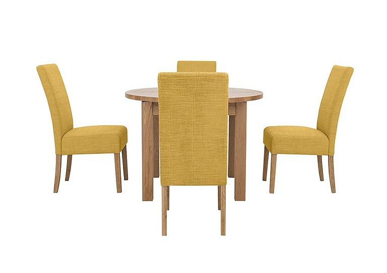 California Extending Round Dining Table and 4 Fabric Dining Chairs