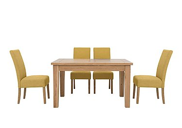 California Extending Rectangle Dining Table and 4 Fabric Dining Chairs in Ochre on FV