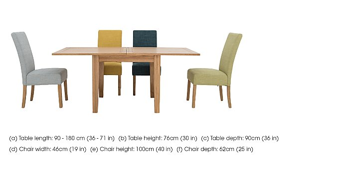 California Extending Flip Top Dining Table and 4 Fabric Dining Chairs in  on Furniture Village