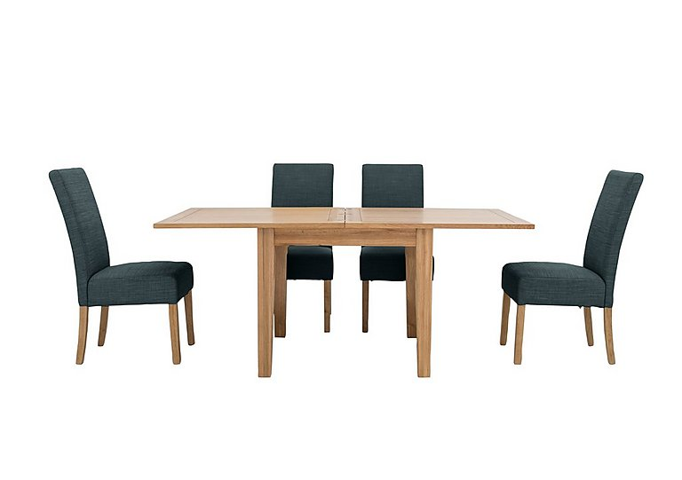 California Extending Flip Top Dining Table and 4 Fabric Dining Chairs