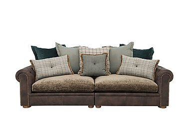 New Romance Giselle 4 Seater Split Frame Leather Pillow Back Sofa in Cal Smoke Option 1 on Furniture Village