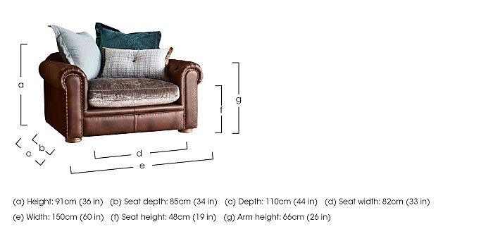 New Romance Giselle Leather Pillow Back Snuggler Armchair in  on Furniture Village