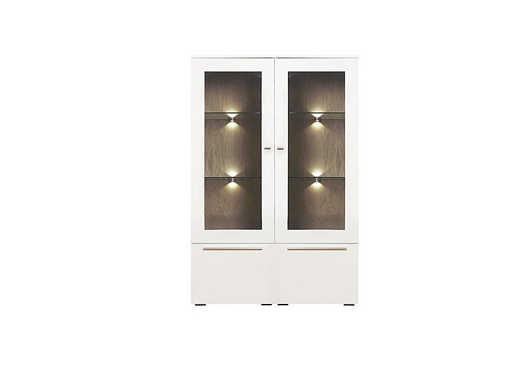 Junctions Low Double Display Unit - Including Lights in Light Grey/Natural Washed Oak on Furniture Village