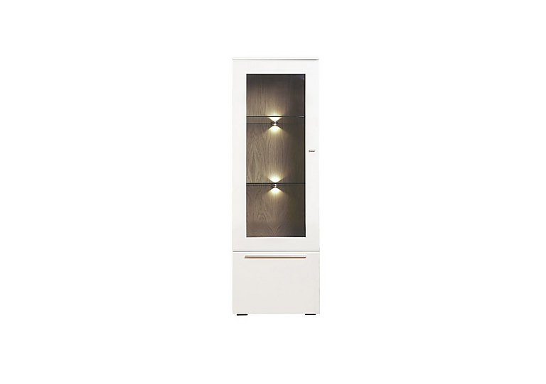 Junction Low Single Right Hand Display Unit – Including Lights in Light Grey/Natural Washed Oak on FV