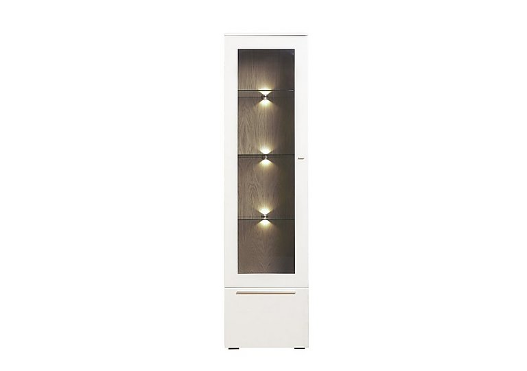 Junction Tall Single Right Hand Display unit – Including Lights in Light Grey/Natural Washed Oak on Furniture Village