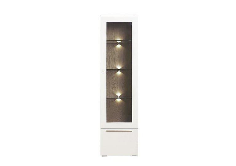 Junction Tall Single Left Hand Display unit – Including Lights in Light Grey/Natural Washed Oak on FV