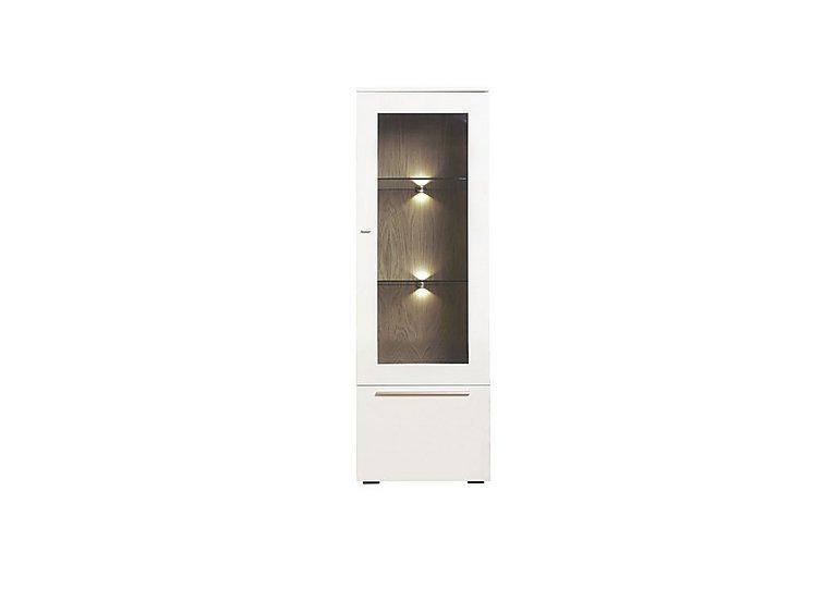 Junction Low Single Left Hand Display Unit – Including Lights in Light Grey/Natural Washed Oak on FV