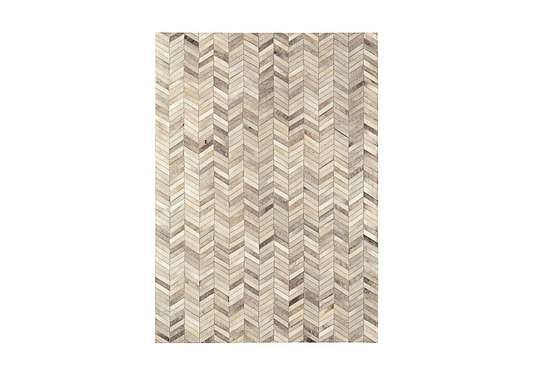 Dakota Leather/Cowhide Rug Medium in Chevron on Furniture Village