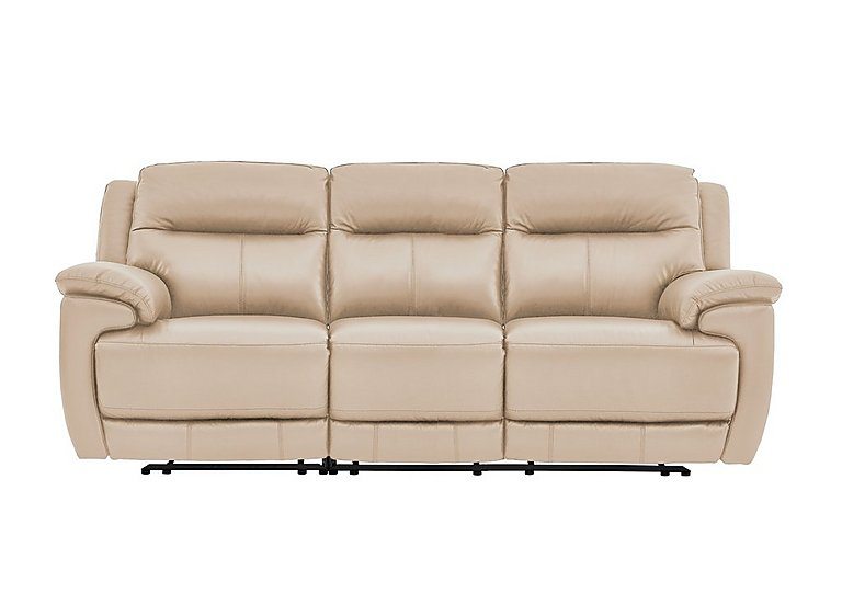 Touch 3 Seater Leather Manual Recliner Sofa - Only One Left!