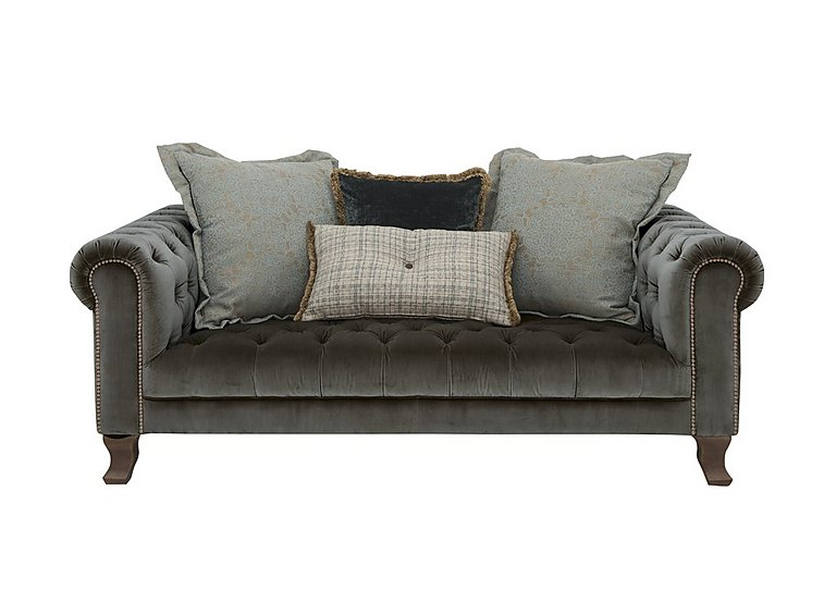 New England Hampton 3 Seater Fabric Pillow Back Sofa in Cabin Velvet Boot Opt1 Dk on Furniture Village