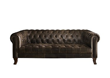New England Hampton 3 Seater Leather Sofa in Indiana Smoke Dk on Furniture Village