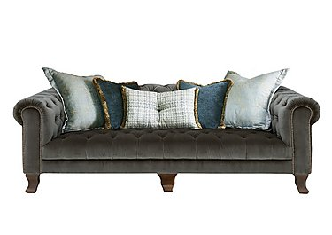 New England Hampton 4 Seater Fabric Pillow Back Sofa in Cabin Velvet Boot Opt1 Dk on Furniture Village