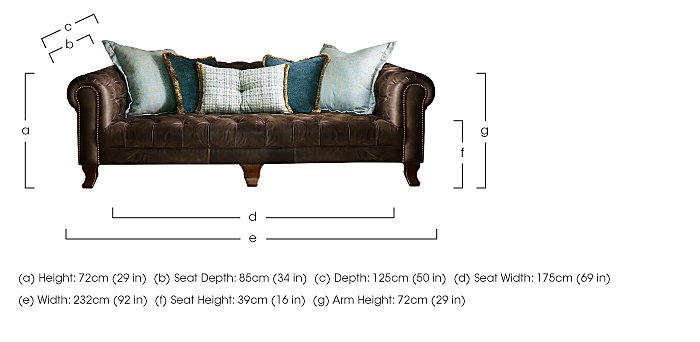 New England Hampton 4 Seater Leather Pillow Back Sofa in  on Furniture Village