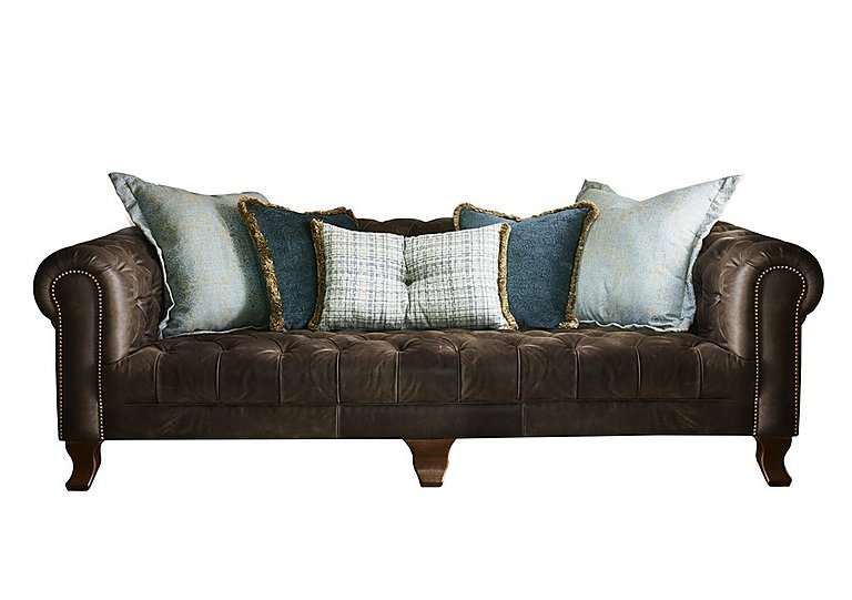 New England Hampton 4 Seater Leather Pillow Back Sofa in Cal Smoke Opt1 Dk on FV