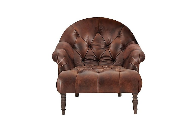 New England Nantucket Leather Armchair in Cal Original Weathered Oak on Furniture Village