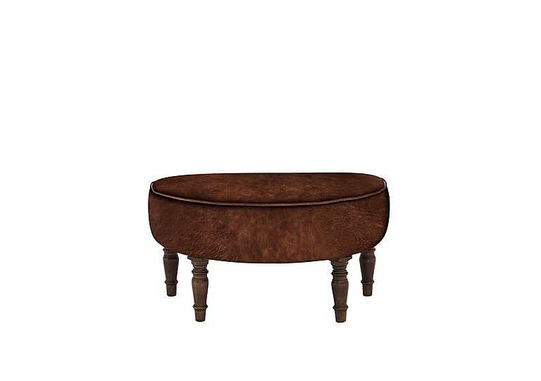 New England Nantucket Leather Footstool in Cal Original Weathered Oak on Furniture Village