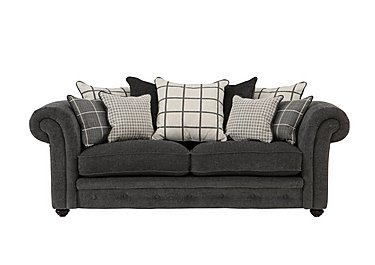 Islington 3 Seater Fabric Pillow Back Sofa in Charcoal / Grey on Furniture Village