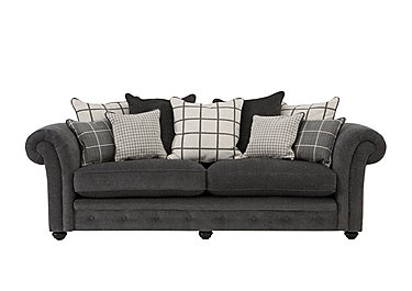 Islington 4 Seater Fabric Pillow Back Sofa in Charcoal / Grey on FV