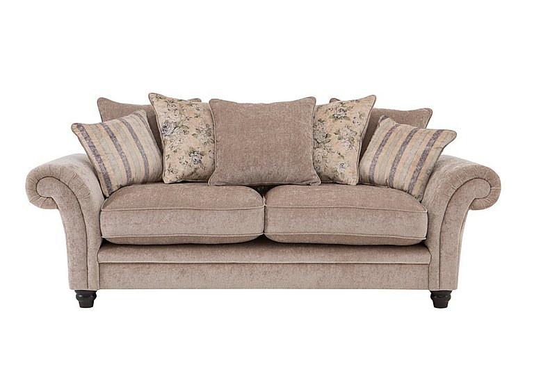 Vera 3 Seater Fabric Pillow Back Sofa in Mink Blue Floral / Stripe on Furniture Village