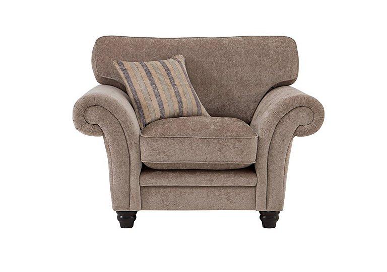 Vera Fabric Armchair in Mink Blue Floral / Stripe on Furniture Village