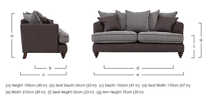 Ayr 3 Seater Pillow Back Fabric Sofa in  on Furniture Village