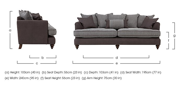 Ayr 4 Seater Pillow Back Fabric Sofa in  on Furniture Village