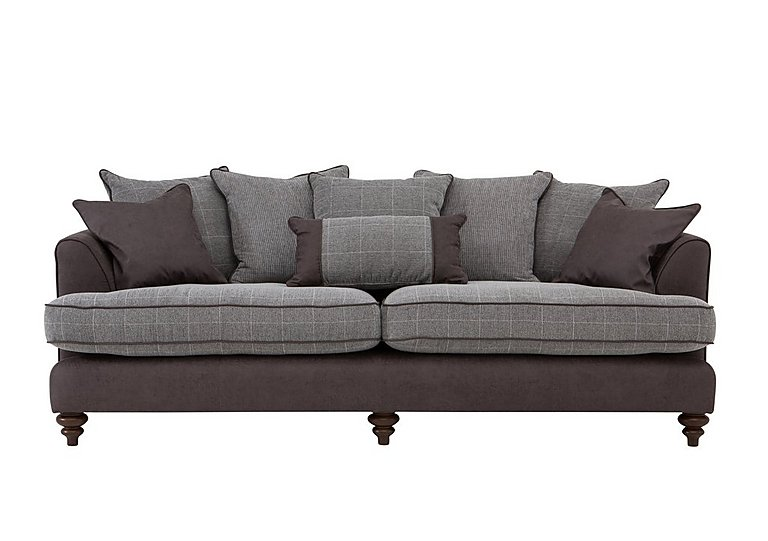 Ayr 4 Seater Pillow Back Fabric Sofa in Charcoal on Furniture Village
