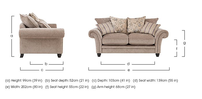 Vera 2 Seater Fabric Pillow Back Sofa in  on Furniture Village