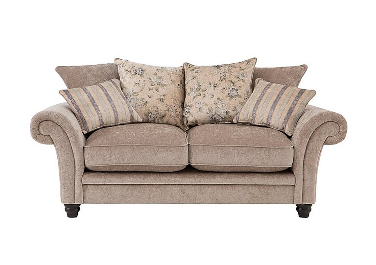 Vera 2 Seater Fabric Pillow Back Sofa in Mink Blue Floral / Stripe on Furniture Village