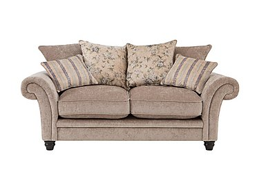 Vera 2 Seater Fabric Pillow Back Sofa in Mink Blue Floral / Stripe on FV
