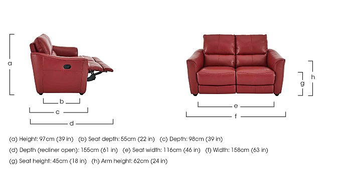 Trilogy 2 Seater Leather Manual Recliner Sofa - Only One Left! in  on Furniture Village