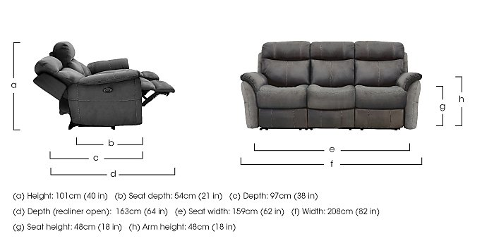 Revive 3 Seater Fabric Manual Recliner Sofa - Only One Left! in  on Furniture Village