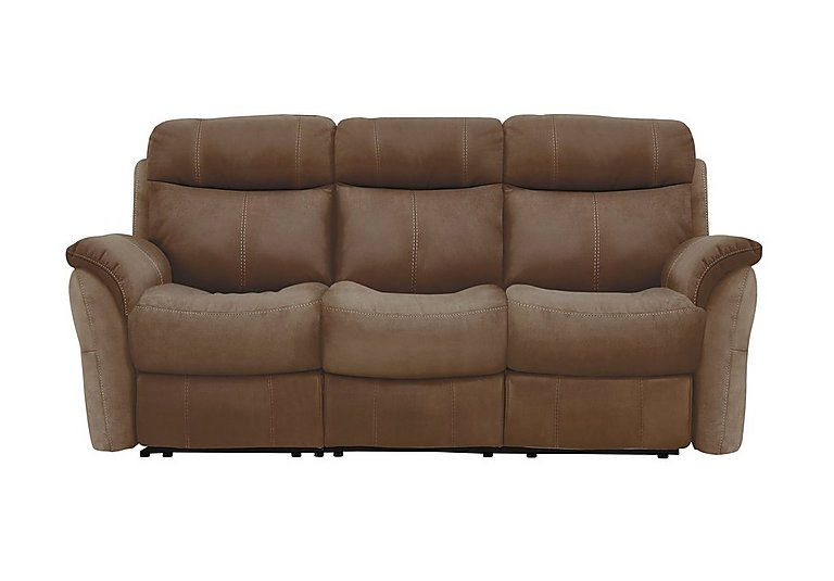 Revive 3 Seater Fabric Manual Recliner Sofa - Only One Left! in Bfa-Blj-R05 Hazelnut on Furniture Village
