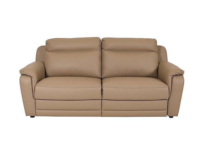 Tara 3 Seater Leather Power Recliner Sofa - Only One Left! in Torello 312 Taupe on Furniture Village
