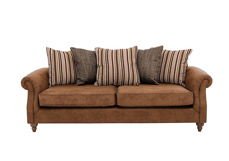Chinook Leather Look Seat 3 Seater Pillow Back Sofa