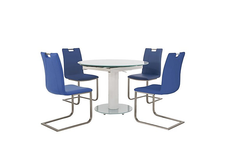 Bubble Round Extending Table White and 4 Grande Chairs