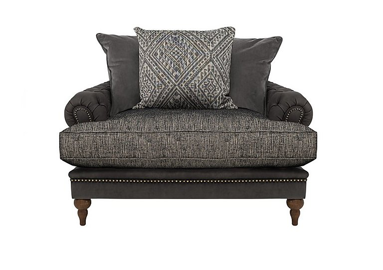 Navajo Leather and Fabric Mix Scatter Back Snuggler Armchair