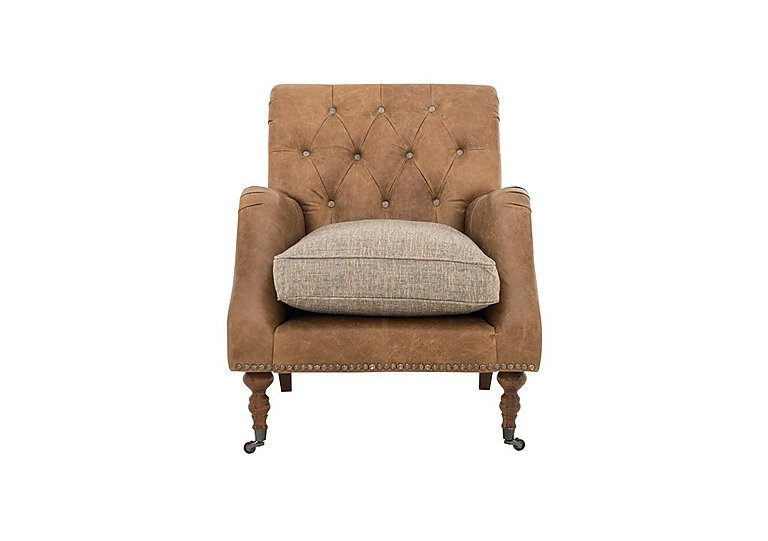 Apache Leather and Fabric Mix Accent Armchair