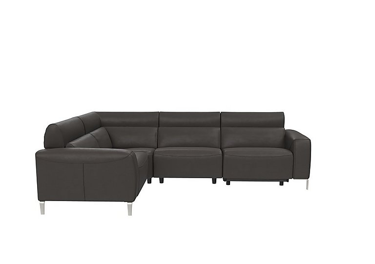 Lusso Leather Power Recliner Corner Sofa with Power Headrests