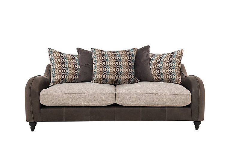 Cherokee Leather and Fabric Mix Scatter Back 4 Seater Sofa