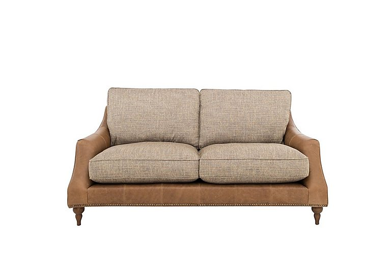Apache 2 Seater Leather and Fabric Mix Classic Back Sofa
