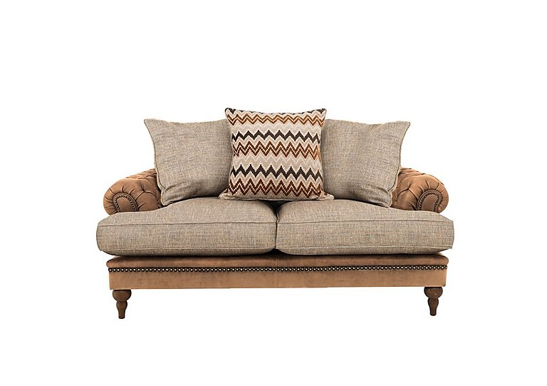 Navajo Leather and Fabric Mix Scatter Back 2 Seater Sofa
