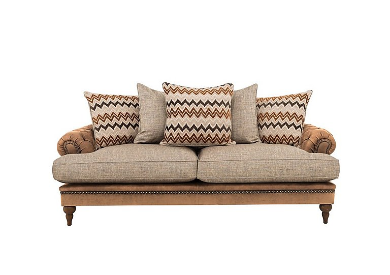 Navajo Leather and Fabric Mix Scatter Back 4 Seater Sofa