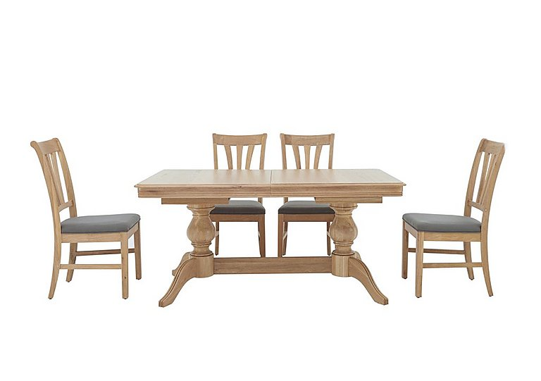 Maison Extending Dining Table and 4 Slatted Dining Chairs